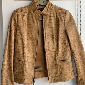 Vintage Lizard Print Leather Jacket